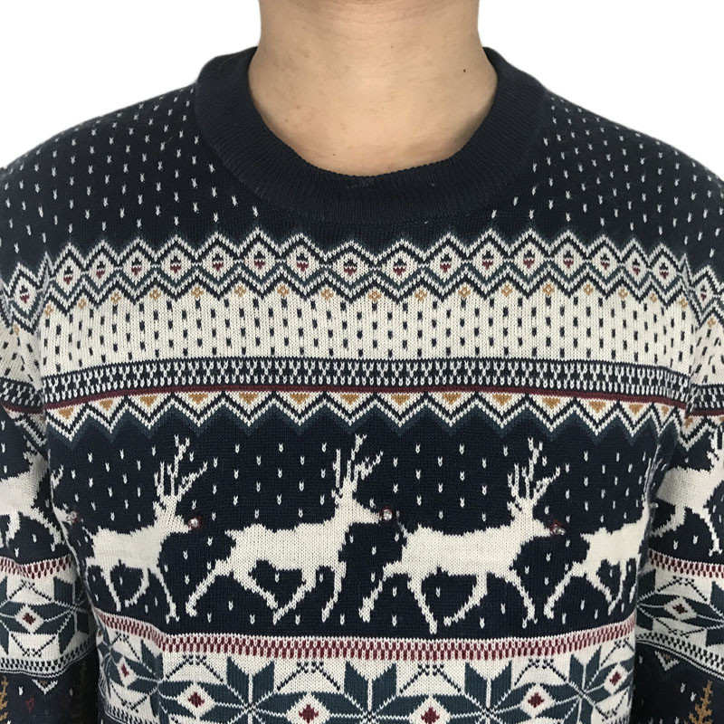 Funny Light Up Ugly Christmas Sweater for Men and Women Navy Blue Male Xmas Pullover Jumper Reindeer Patterned Plus Size S-4XL 5