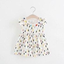 2017 Summer Baby Girls Cotton Raindrops Ruffles Sleeveless  O Neck Cute Sundress Kids Infant Dress vestidos roupas de bebe