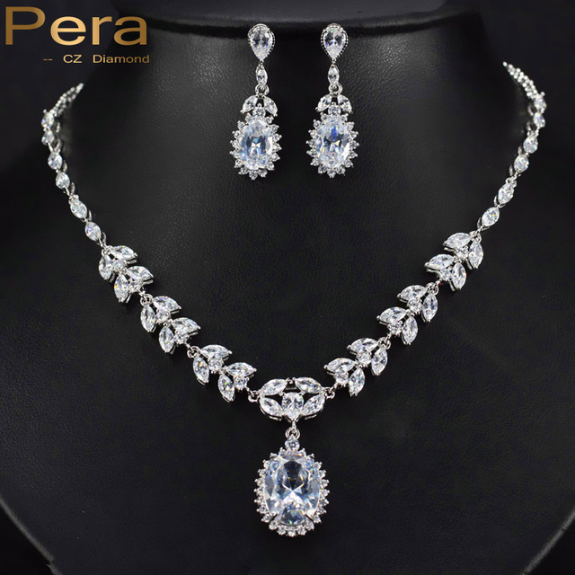 d88143051d6 US $31.2 |Pera Classic Bridal Wedding Jewelry Luxury Full Leaf Shape Cubic  Zircon Stone Big Pendant Drop Necklace Earrings For Brides J120-in Bridal  ...