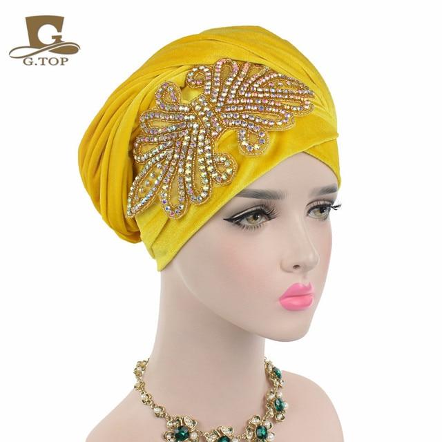 New fashion women gorgeous Embellished Crystal Jewelry Extra Long Velvet Turban Hijab Head Scarf Head Wraps Turbante