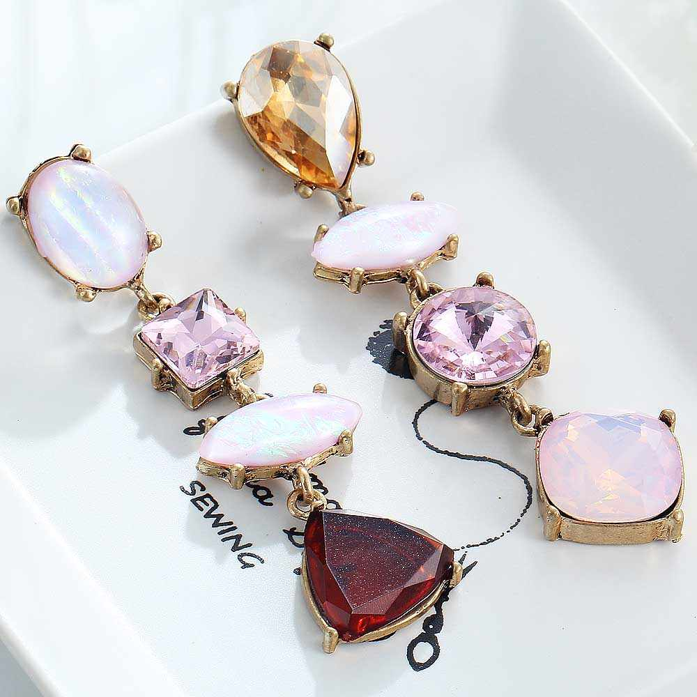 YaYi Pink Red Brown Glass Earring Women's Fashion Ancient Gold Color Earrings gems Earrings For Women Girls E981