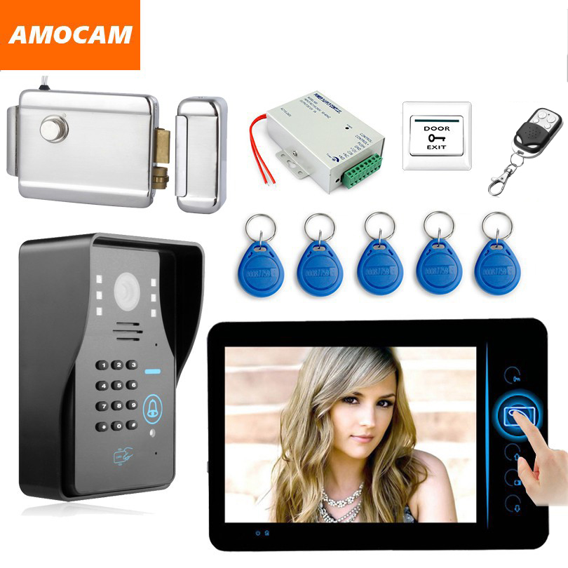 7 Wireless Video Door Phone Doorbell Intercom Kit with Electronic Lock password/ID Card /Wireless Remote/ Exit Button for home двигатель для bosch amw 10 06008a3000