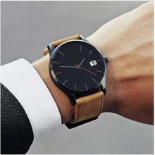 Watch Men Quartz Sport Military Stainless Steel Dial Leather