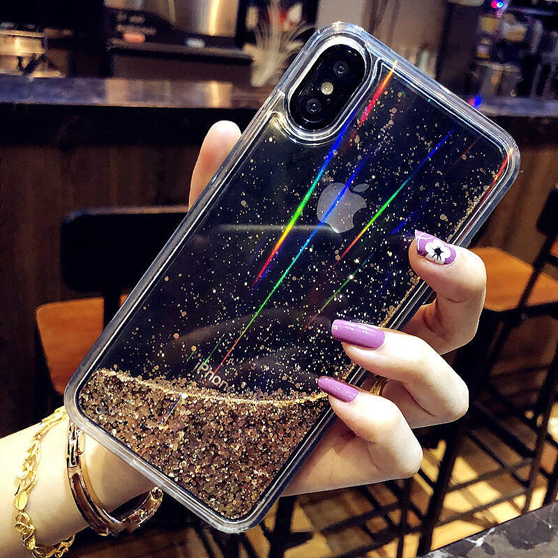 Quicksand-Capinha-For-iPhone-7-8-Plus-X-XR-Xs-Max-Hard-Plastic-Glitter-Case-Cover