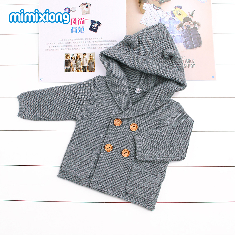 Gray Knit Infant Newborn Cardigan Sweater Long Sleeve Winter Coat For Toddler Boys Hooded Jackets Button Up Fall Baby Girls Coat