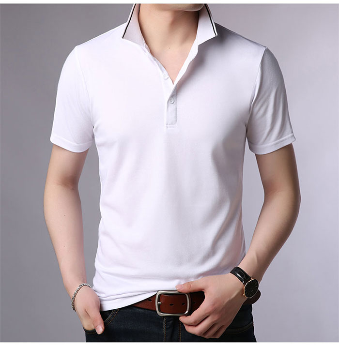 Baishanglin Brand clothing Men Polo Shirt Men Business Casual Solid Color Male Polo Shirt Short Sleeve High quality Pure Cotton 9