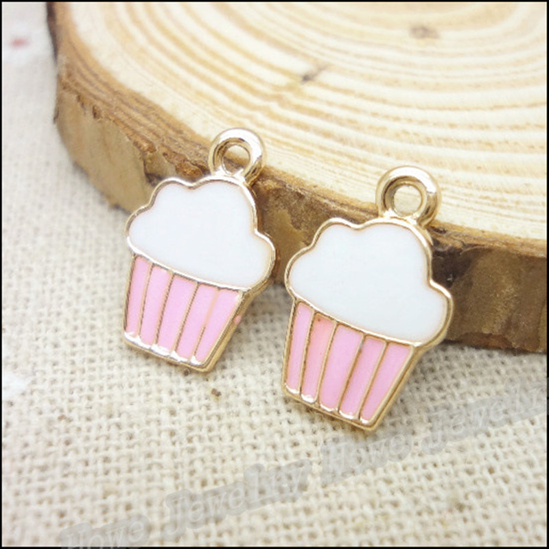 10pcs/lot 5*16mm Cute Cake Enamel Charms Metal Pendants Gold base Fashion Jewelry Accessories for DIY handmade
