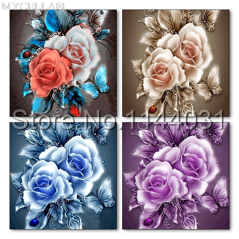 DIY 5d diamante pintura Rosa diamante Bordado flores completo Dimond mosaico Cruz puntada inacabado Navidad regalo
