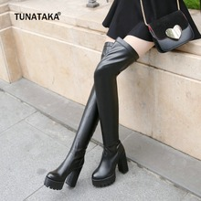 Top Resiliency Pu Leather Over The Knee Boots Slip On Thick High Heel Platform Thigh Boots Ladies Fashion Shoes White Black