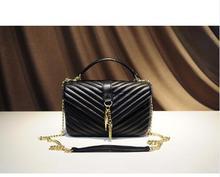 Высокая стеганой кожи сумка леди известный люксовый бренд натуральная кожа сумки на плечо цепочка
