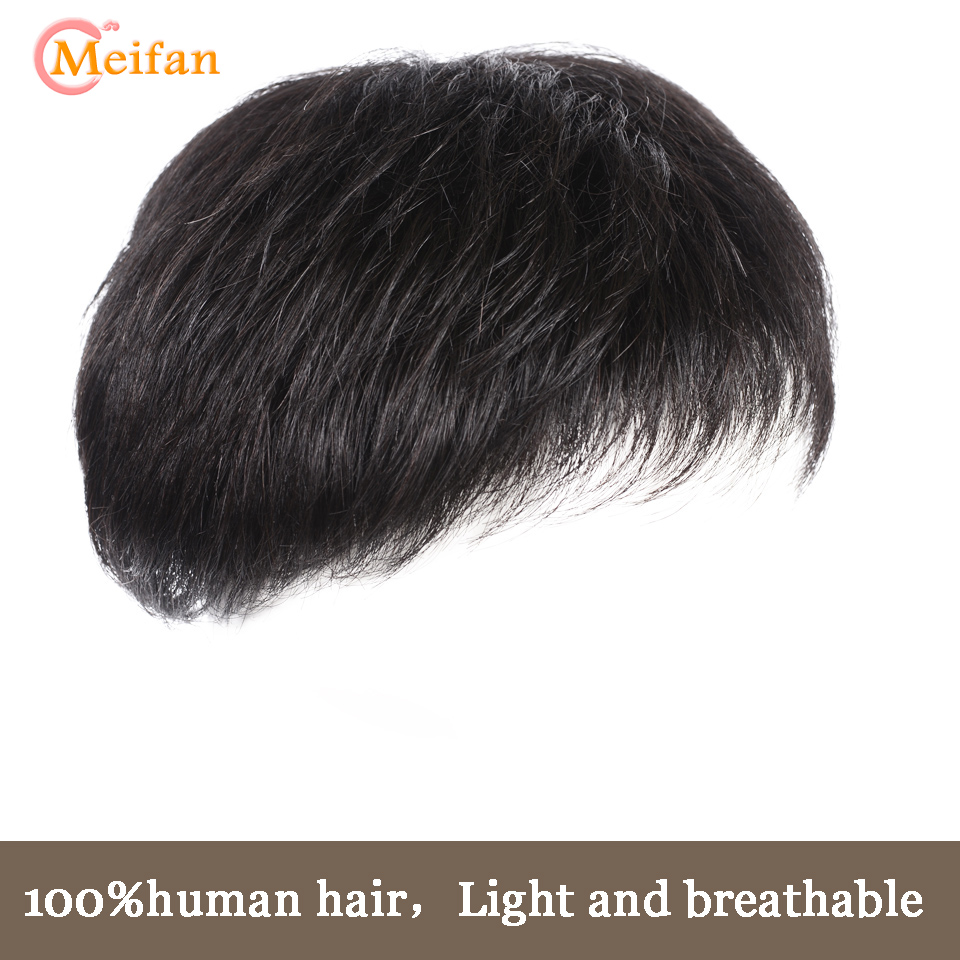 MEIFAN Human Hair Top Hair Pieces for Man Hand made Half Head Wig Natural Fluffy Invisible Replacement Hair Piece