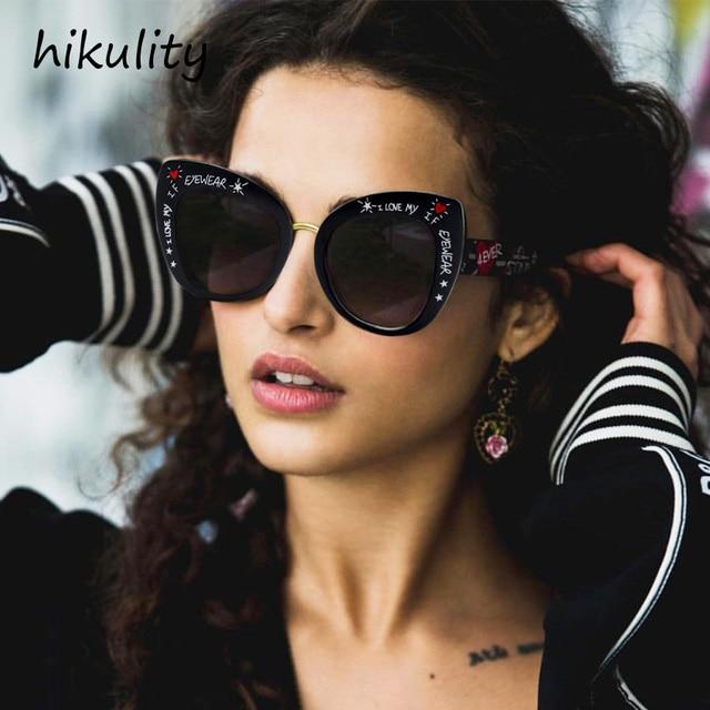 73a45cb32d0 89114 Vintage Cat Eye Sunglasses Women 2018 Love Letter Designer Ladies  Shades Retro UV Protect Black Cateye Sun Glasses Female