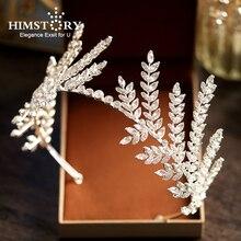 Himstory Luxe Clear Crystal Olive Branch Bruiloft Hoofdband Tiara Kroon Groothandel Haarband Prinses Haaraccessoires