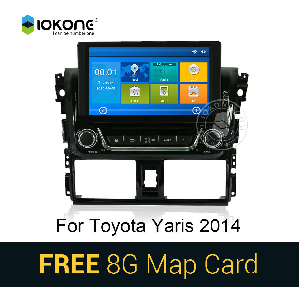 Iokone car dvd video player gps navi stereo for toyota yaris vios 2014 with bluetooth