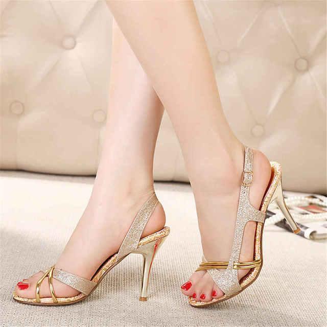 2016 Femmes femmes d'été sandales élégantes talons minces Partie été femme talons hauts sandales poissons bouche chaussures 566BYODl