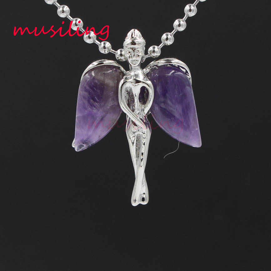 Angel Wings Necklace Pendants Natural Stone Reiki Pendulum Charms Accessories Wicca Witch Amulet Jewelry For Women 1 pcs
