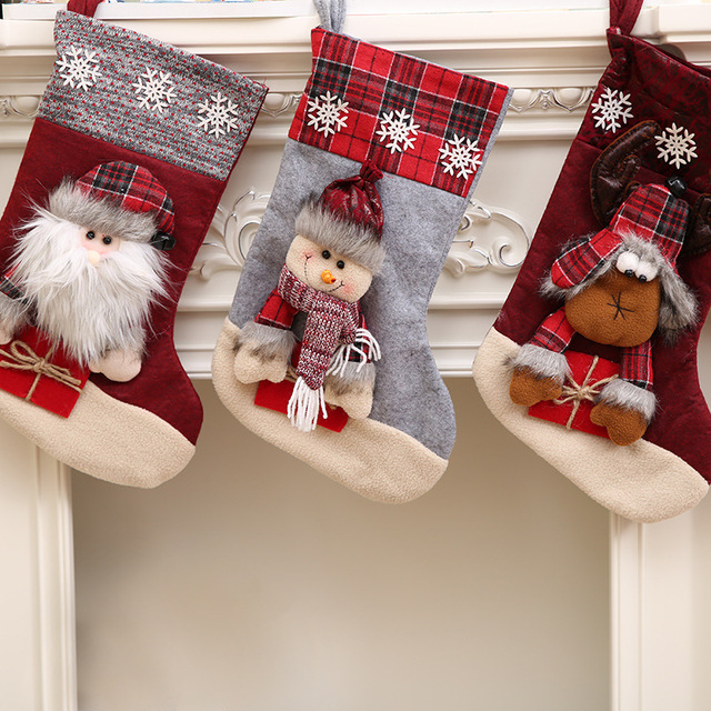 1 Pcs Christmas Stockings Candy Bag Santa Sack Cute Kids Toys Snowman Elk