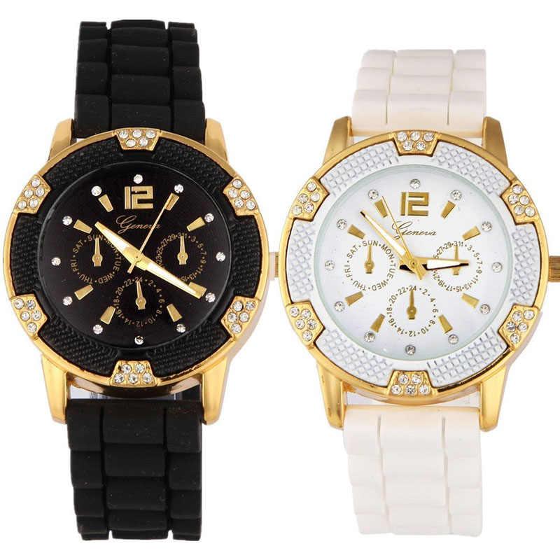נשים של רוז זהב הכרונוגרף סיליקון עם קריסטל Rhinestones לוח relogio masculino ז 'נבה שעונים גברים זהב 30
