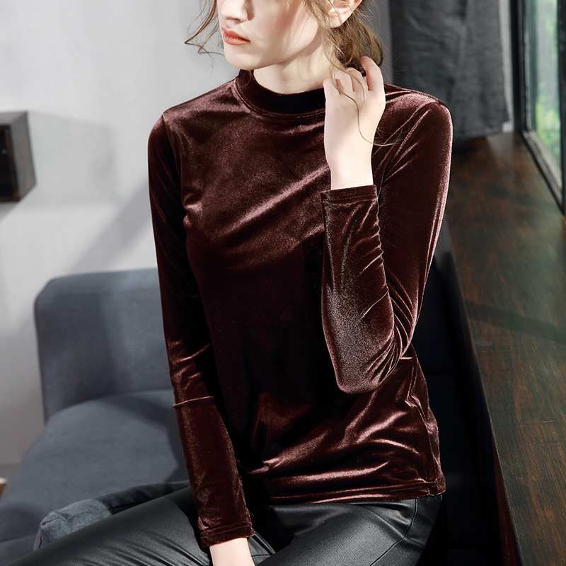 d3802c220e58f Women Velour T Shirt Plus Size 2018 Autumn Winter Hot Fashion Turtleneck  Velvet Shirt Female Long Sleeve Slim Tops T-shirts