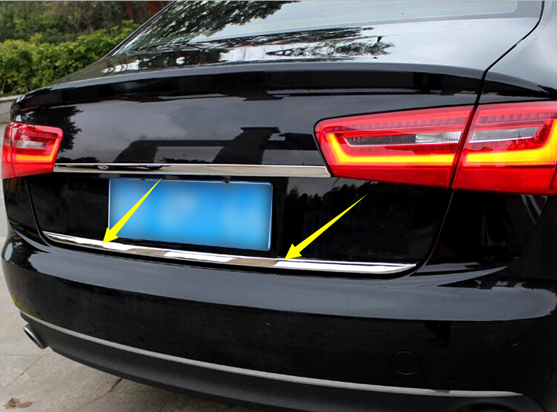 1 Piece Car Rear Trunk Gate Lid Cover Trim Car Exterior Accessories Stainless Steel For Audi A6 C7 4-Door Sedan 2012-2017