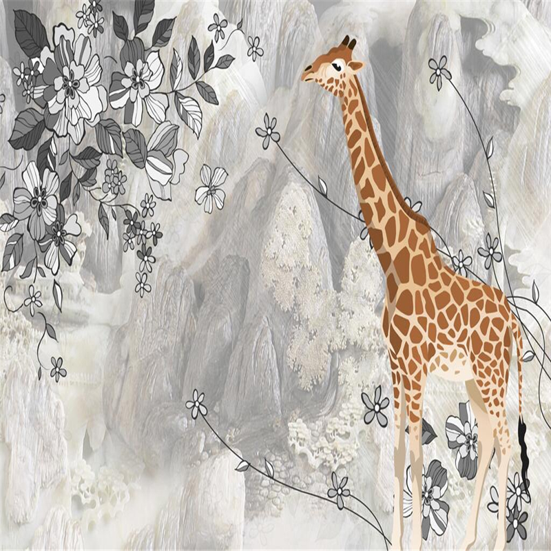 цена на Marble Wallpaper Custom Giraffe 3d Wall Paper Murales De Pared Thicken TV Background Study Kitchen Wall Mural Wallpaper Bedroom