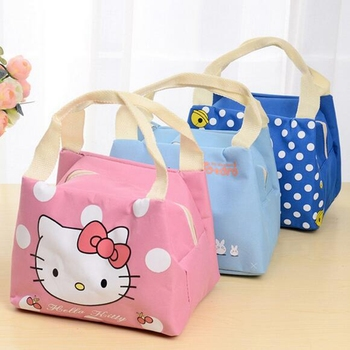 Girl Portable Cartoon Cute Hello Kitty Lunch Bag Insulated Cold Canvas Picnic Totes Carry Case For Kids Women Thermal Bag