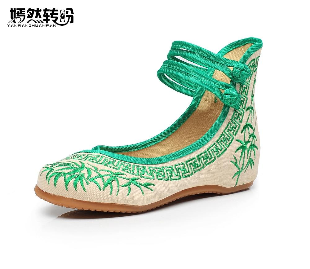 Frauen Wohnungen Chinesische Alte Peking Bambus Leinwand Schuhe Blau Und Weiß Bestickte Tuch frauen Singles Dacen Wanderschuhe