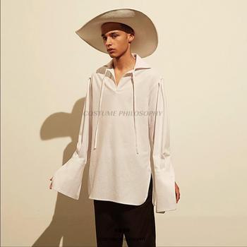 Original New Summer Tide Men Personality Long Sleeve Shirt Loose Solid Color Simple Hair Stylist Irregular Shirt Singer Costumes