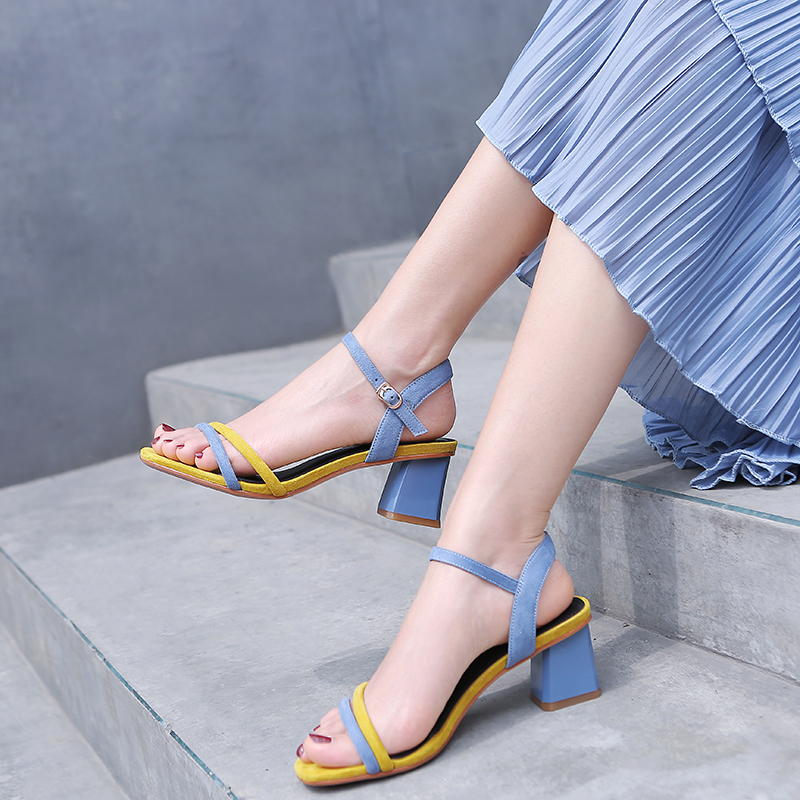 2020 Summer Yellow Black Women Sandals 5CM Block High Heels Ladies Shoes 11813ABX2286