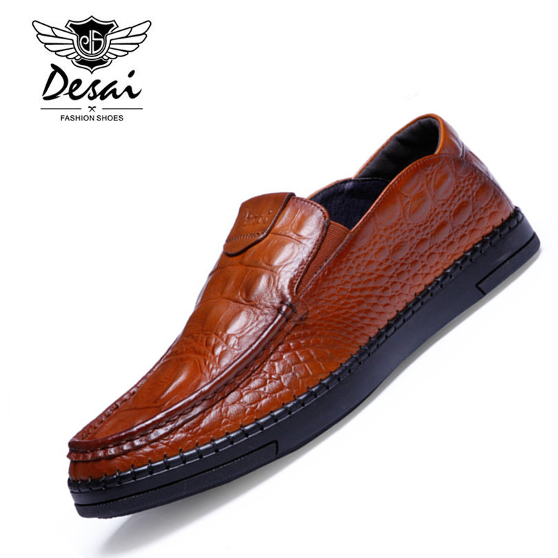 DESAI Brand Italian Style Full Grain Leather Crocodile Design Men Loafers Comfortable Slip On Moccasin Driving Shoes Size 38-43 desai brand italian style full grain leather crocodile design men loafers comfortable slip on moccasin driving shoes size 38 43