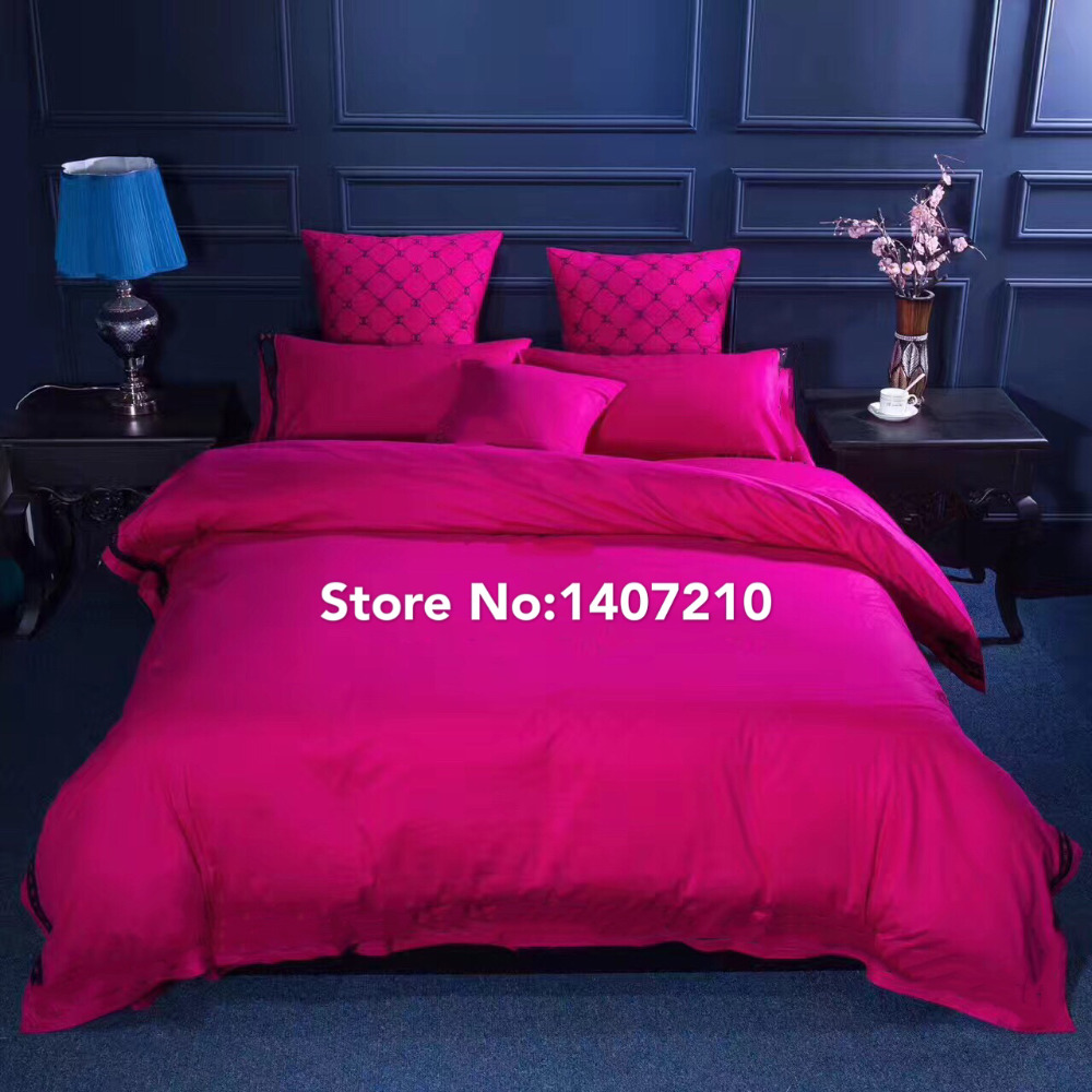 Black and red bed sheets - Luxury100 Cotton Bedding Set Bed Sheets Duvets Bedspread Quilted Bedspread White Black Cotton Hot Pink Comforter Sets Set Queen