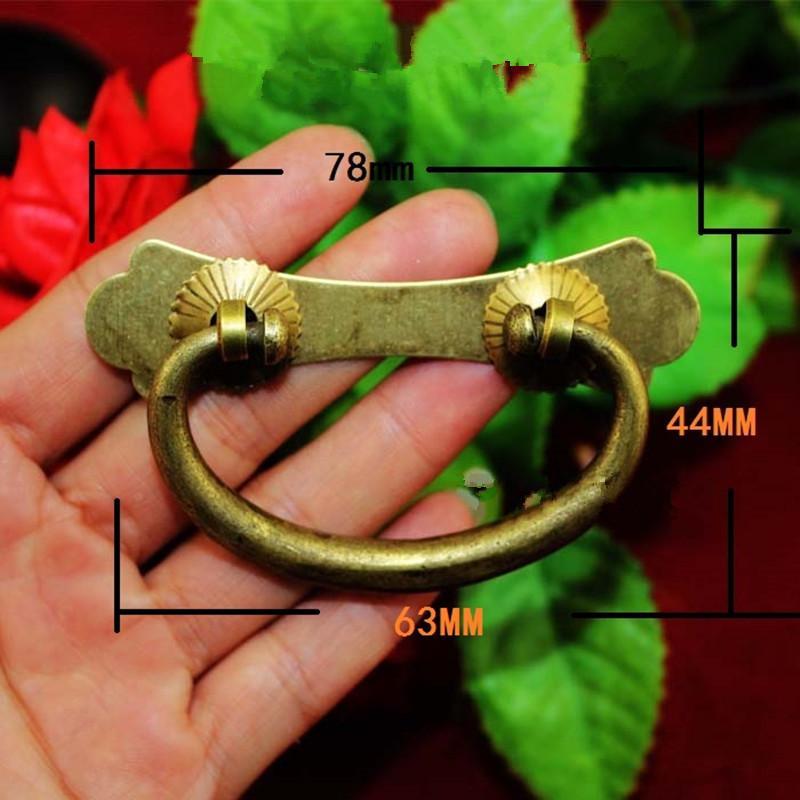 Vintage Chinese Bronze Brass Handle Tab Drawer Cabinet Jewelry Box Decorative DIY Furniture Hardware,78*44mm,1PC lhx p0fh04 1 39 57mm bronze hinge for jewelry box cabinet furniture diy family hardware