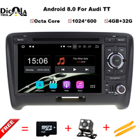 1024 600 Octa Core Android 8 0 Car DVD Player For AUDI TT 2006 2013 GPS