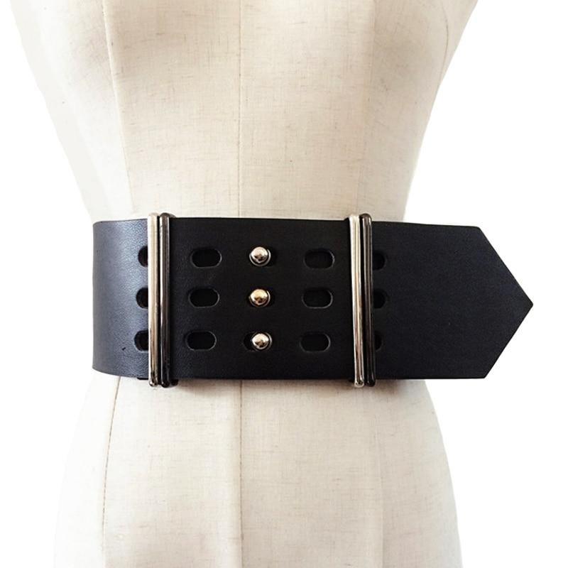 2019 nuevo diseño de marca Cinturones de cuero para mujer Moda metal Pin Hebilla de cuero ancho Cinturones de mujer Joker Cinturones anchos accesorios