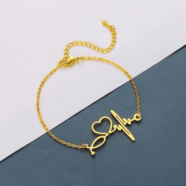 Todorova Stainless Steel Heartbeat Cardiogram Bracelets Stethoscope Women Bracelet Special Gifts for Nurse Jewelry for Doctor 2