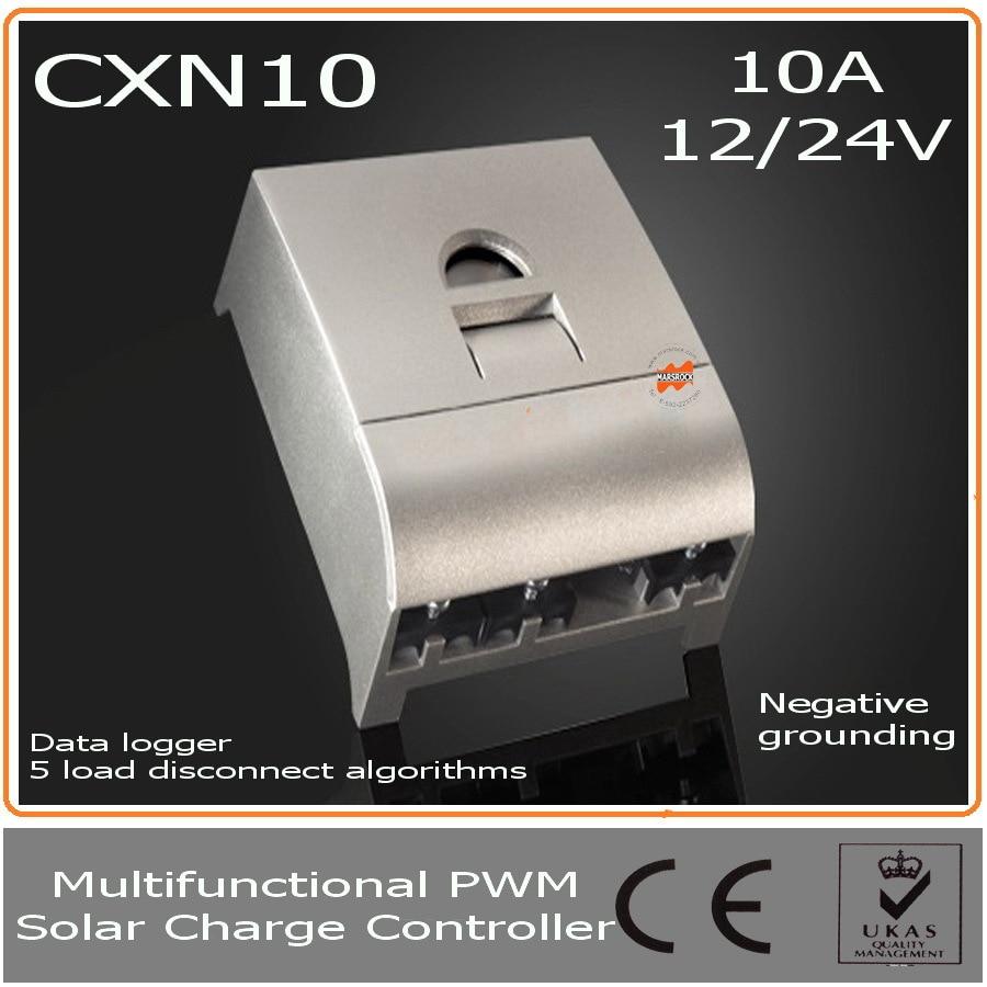 10A 12 В 24 В ШИМ Контроллер заряда с LC Дисплей, свет и время активации, регистратор данных, компенсация температуры