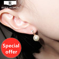 New Luxurious Women Gold Plated Lovely Dolphin Sparking Crystal Simulated Pearl Fashion Clip Earrings For Women's Free Shipping