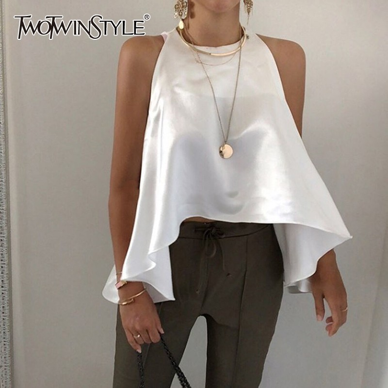 TWOTWINSTYLE Elegant Solid Women Blouse Off Shoulder O Neck Asymmetrical Hem Oversized Shirt Female Fashion Clothes 2020 Summer
