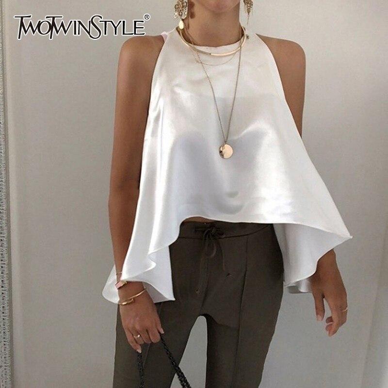 TWOTWINSTYLE Elegant Solid Women Blouse Off Shoulder O Neck Asymmetrical Hem Oversized Shirt Female Fashion Clothes 2020 Summer