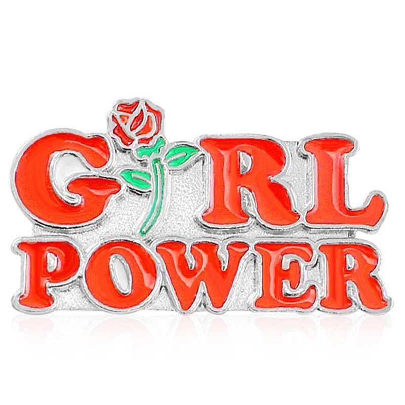 Girl Power Pin Merah Huruf Rose Lencana Wanita Lebih Tinggi Feminisme Bros Inspirasional Wanita Bros Pin Topi Tas Baju Kerah Pin perhiasan