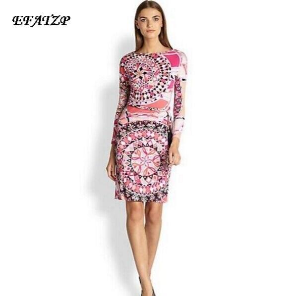 الجديدة 2015 الماركات الفاخرة المرأة الوردي طباعة طويلة الأكمام طباعة زائد حجم xxl تمتد جيرسي الحرير اللباس (مع حزام)-في فساتين من ملابس نسائية على  مجموعة 1