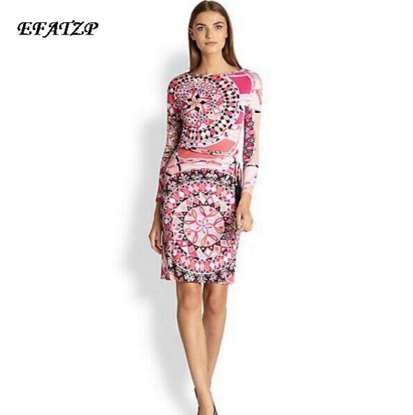 Kadın Giyim'ten Elbiseler'de Yeni 2015 Lüks Markalar kadın Pembe Baskı Uzun Kollu Baskı Artı Boyutu XXL Streç Jersey Ipek Elbise (kemer)'da  Grup 1