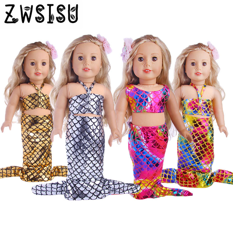 2017 4 colors new fashions mermaids 18 inch American girls baby clothes best birthday gifts for