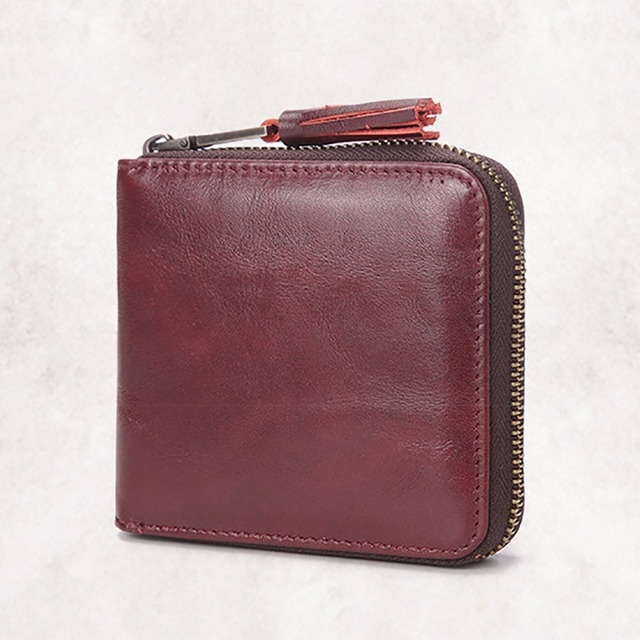 Hot Sale Genuine Cowhide Leather Women Wallet Luxury Brand Ladies Mini Money Bag With Fashion Tassel Zipper Small Bifold Purse