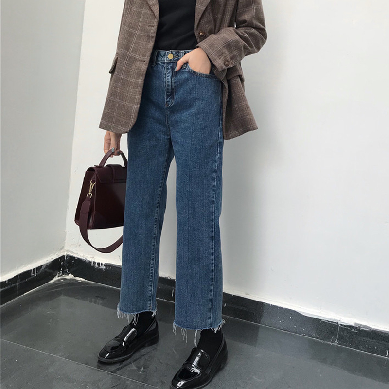 Korean Wide Leg   Jeans   Ulzzang Loose Cover Leg Pants Women Trousers Blue   Jean   Taille Haute Ropa China Straight Spodnie Damskie