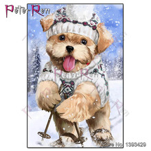 Diy diamond Painting Cartoon Puppy skiing Diamond Embroidery Animal dog crystal Cross Stitch Pictures Of Rhinestones Home Decor