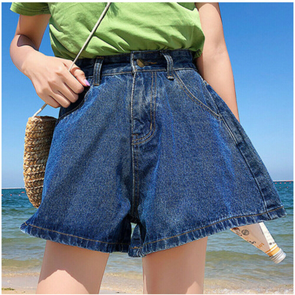 Women Summer Casual High Waist Shorts Ladies Beach Solid Light Blue Dark Blue Shorts