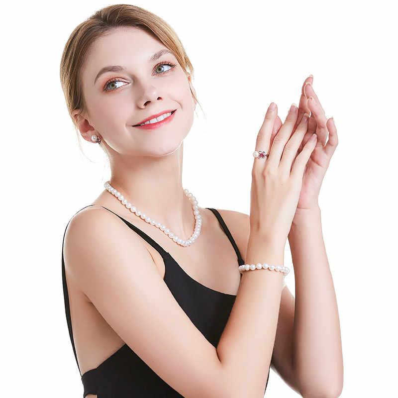 Trắng Bất Tự Nhiên Gần Vòng Trang Sức Ngọc Trai Nữ Vòng Cổ, Bạc Bướm Buckle 925 Sterling Silver, 8-9 mét 45 cm Tốt Hạt Trang Sức