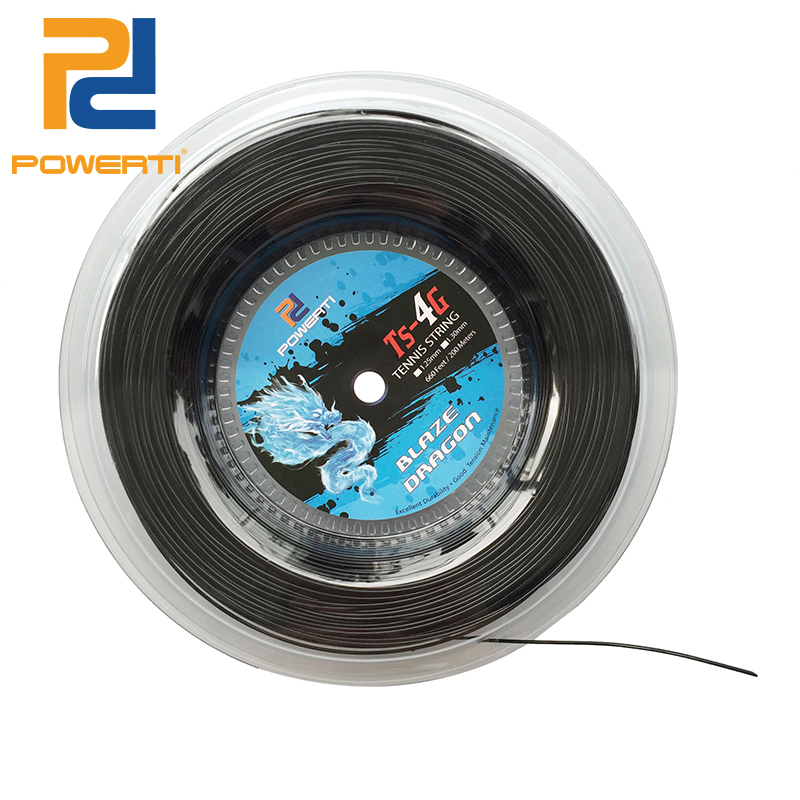 POWERTI 1.30mm/1.25mm Tennis String 4G Polyester Training Racket String 200m Reel Gym Sport Outdoor Black String