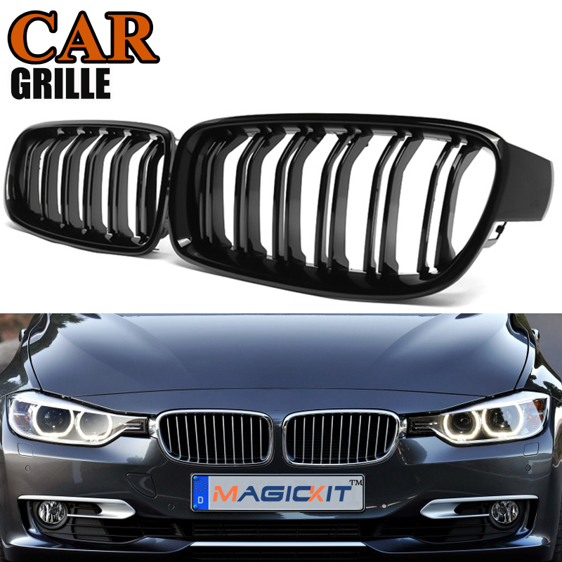 MagicKit Gloss Black Dual Slat Line M 3 Look Front Kidney Hood Grille Car Grilles Grill For BMW 3-Series F30 <font><b>F31</b></font> F35 2012-2016 image